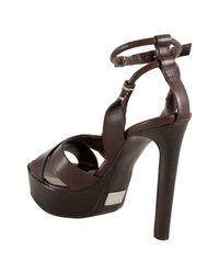 Michael Kors - Brown Leather Crisscross Platform Sandals - Lyst