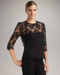 MILLY | Black Caterina Lace Top | Lyst