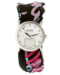 Moschino - Black Watch With Dual Leather And Silk Straps - Lyst
