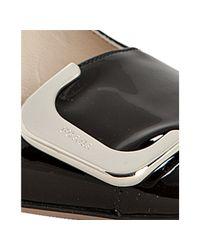 Prada | Black Patent Leather Buckle Detail Block Heel Pumps | Lyst