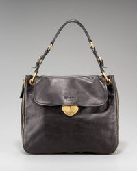 Prada | Black Large Flap Satchel | Lyst