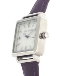 Ted Baker | Purple Leather Strap Watch With Art Deco Style Square Dial | Lyst