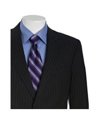Tommy Hilfiger   Blue Navy Pinstriped Wool Joseph 2-button Trim Fit Suit with Flat Front Pants for Men   Lyst