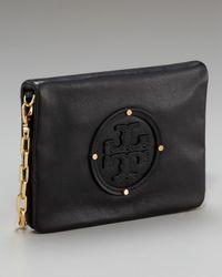 Tory Burch | Black Leather-logo Reva Clutch | Lyst