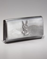 Saint Laurent | Metallic Belle Du Jour Patent Logo Clutch | Lyst
