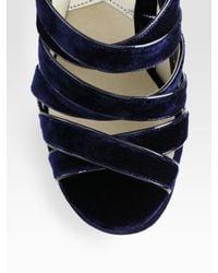 MICHAEL Michael Kors | Blue Faye Velvet Platform Slingback Sandals | Lyst
