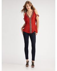 Parker | Red Beaded Open-shoulder Top | Lyst
