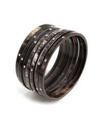 Zeffira - Black Preorder Set Of 7 Horn Bangles with Swarovski Crystal - Lyst