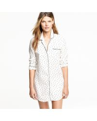J.Crew - White Nightshirt in Polka-dot Flannel - Lyst