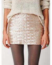 Free People - Metallic Fever Sequin Bodycon Skirt - Lyst