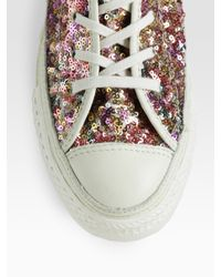 Converse - Pink Sequin High-top Sneakers - Lyst