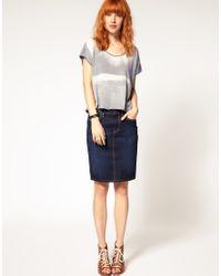 DIESEL | Blue Denim Pencil Skirt | Lyst