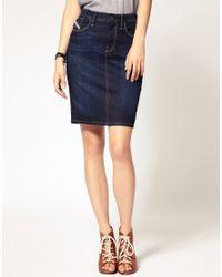 DIESEL - Blue Denim Pencil Skirt - Lyst