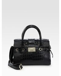 Jimmy Choo | Black Rosalie Croc-stamped Leather Satchel | Lyst