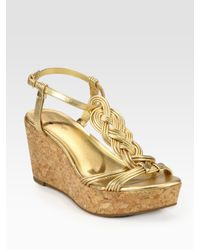 kate spade new york | Becca Braided Metallic Leather T-strap Wedge Sandals | Lyst