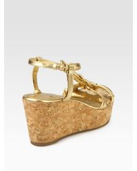 kate spade new york - Becca Braided Metallic Leather T-strap Wedge Sandals - Lyst
