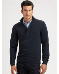 Michael Kors | Blue Wool/cashmere Half-zip Sweater for Men | Lyst