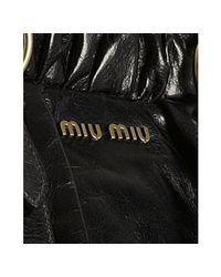 Miu Miu - Black Glazed Leather Large Tote - Lyst