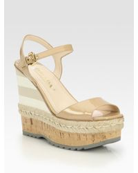 Prada | Natural Patent Leather Espadrille Wedge Sandals | Lyst