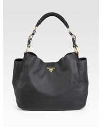 Prada | Black Vitello Daino Hobo Bag | Lyst