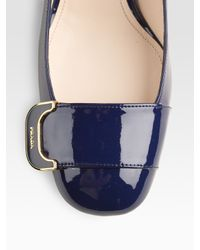 Prada - Blue Patent Leather Buckle Pumps - Lyst