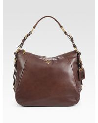 Prada | Brown Soft Calf Zip Hobo Bag | Lyst