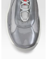 Prada - Gray Lace-up Sport Sneakers for Men - Lyst