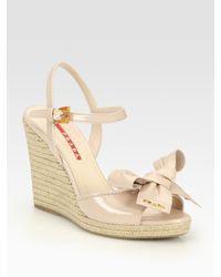 a092697c9c0 Lyst - Prada Patent Leather Espadrille Wedge Sandals in Natural