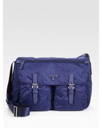Prada - Blue Nylon Messenger Bag - Lyst