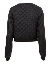 TOPSHOP - Black Stud Quilted Bomber - Lyst