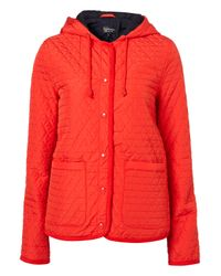 TOPSHOP | Red Hooded Quilted Jacket | Lyst