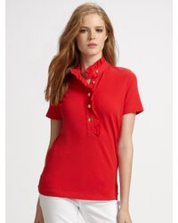 Tory Burch | Red Lidia Ruffle-collar Polo Shirt | Lyst