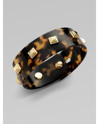 Tory Burch | Black Skinny Studded Resin Cuff | Lyst