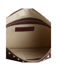 Valentino - Red Cherry Leather Rockstud Zip Clutch - Lyst