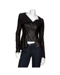 Willow - Leather Peplum Jacket: Black - Lyst