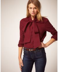 ASOS Collection | Asos Pussybow Coloured Denim Blouse | Lyst