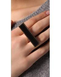 Belle Noel - Metallic Black Leather Statement Ring - Lyst