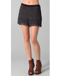Club Monaco | Black Alaya Fringe Shorts | Lyst