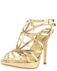 Dior - Strappy Platform Metallic Sandal - Lyst