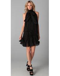 L.A.M.B. | Black Tie Neck Sleeveless Dress | Lyst