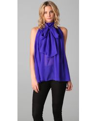 L.A.M.B. | Blue Tie Neck Chiffon Blouse | Lyst