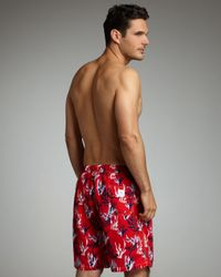 Peter Millar - Red Coral-print Swim Trunks for Men - Lyst