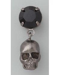 Tom Binns Black Della Notte Crystal & Skull Earrings