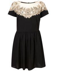 TOPSHOP | Black Vintage Lace Embroidered Dress | Lyst