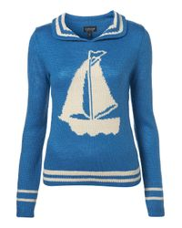 TOPSHOP | Blue Knitted Boat Motif Jumper | Lyst