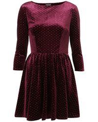 TOPSHOP | Purple Spot Velvet Flippy Dress | Lyst