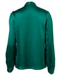 TOPSHOP - Green Silk Pussybow Blouse - Lyst
