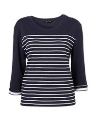 TOPSHOP | Blue Boxy Stripe Elbow Tee | Lyst