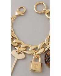 Tory Burch Metallic Luggage Tag Charm Bracelet