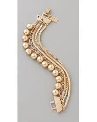 Tuleste Metallic Snake Chain Pom Pom Bracelet